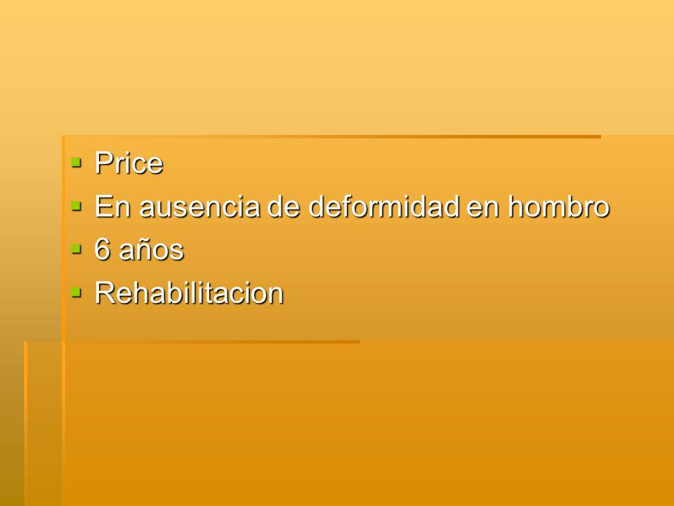 Price Price En ausencia de deformidad en hombro En ausencia de deformidad en hombro 6 años 6 años Rehabilitacion Rehabilitacion