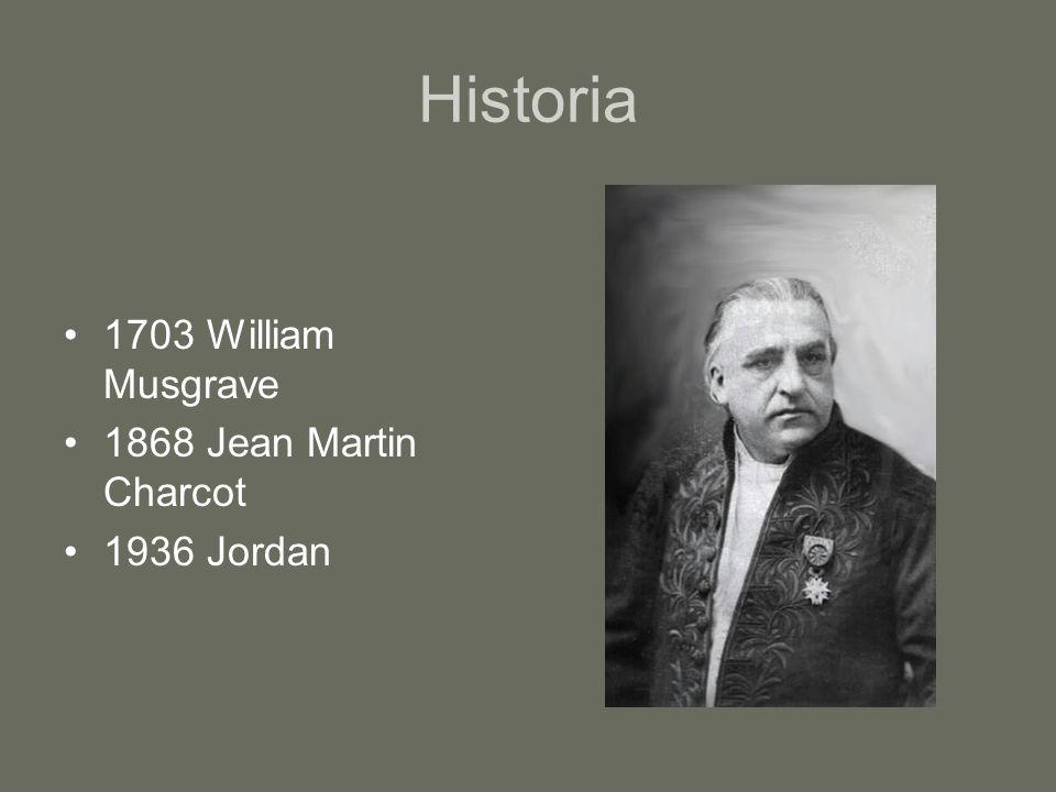 Historia 1703 William Musgrave 1868 Jean Martin Charcot 1936 Jordan