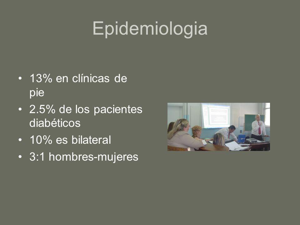 Etiologia NEUROPATIA SENSORIAL O AUTONOMICA Diabetes Sífilis Alcoholismo Lepra Mielomeningocele, lesión de cordón y siringomelia Insensibilidad congénita
