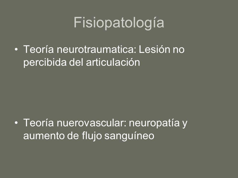 Fisiopatología Teoría neurotraumatica: Lesión no percibida del articulación Teoría nuerovascular: neuropatía y aumento de flujo sanguíneo