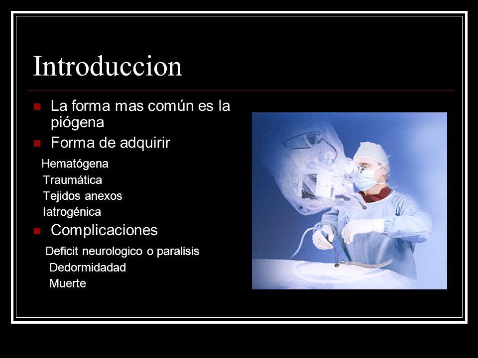 Introduccion La forma mas común es la piógena Forma de adquirir Hematógena Traumática Tejidos anexos Iatrogénica Complicaciones Deficit neurologico o
