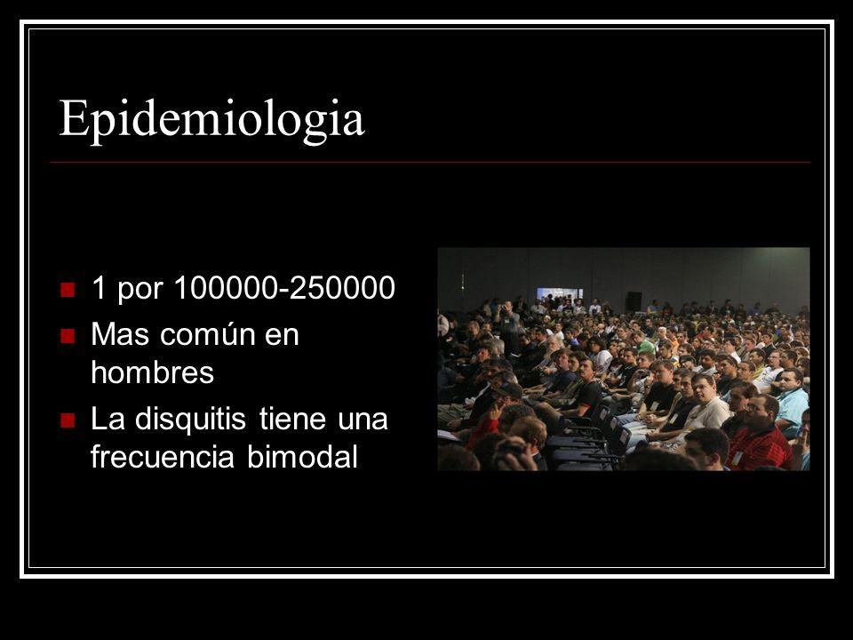 Epidemiologia 1 por 100000-250000 Mas común en hombres La disquitis tiene una frecuencia bimodal