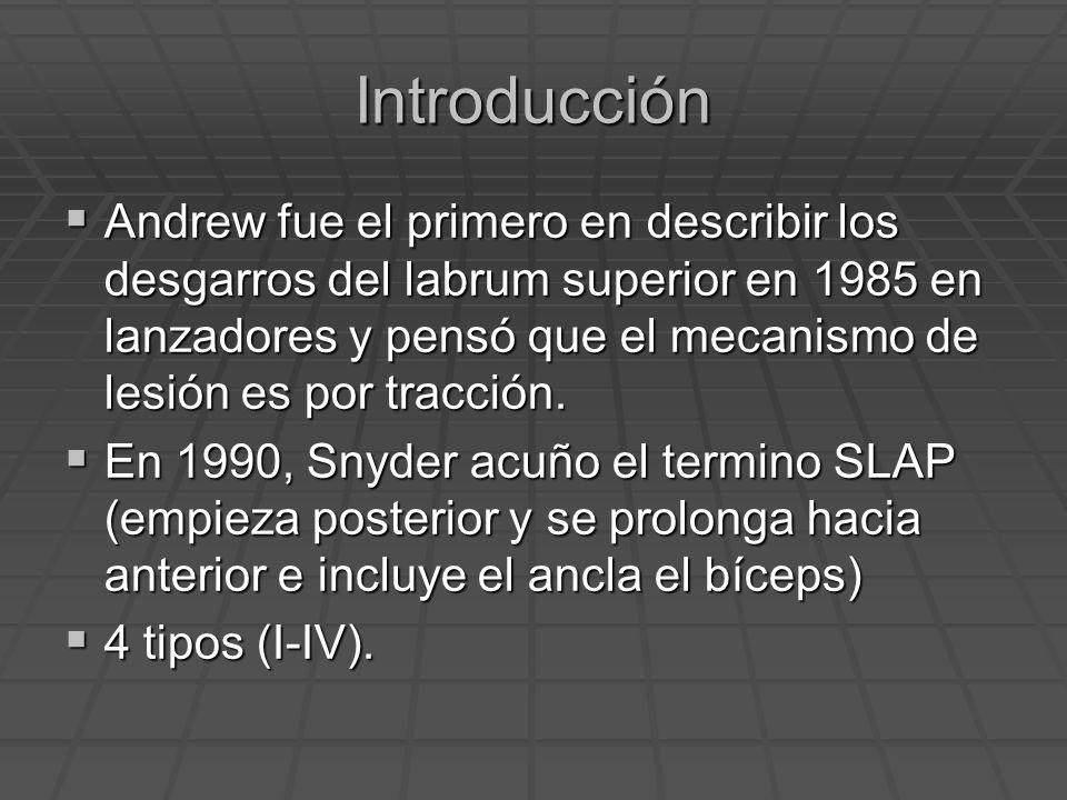 Introducción Andrew fue el primero en describir los desgarros del labrum superior en 1985 en lanzadores y pensó que el mecanismo de lesión es por trac