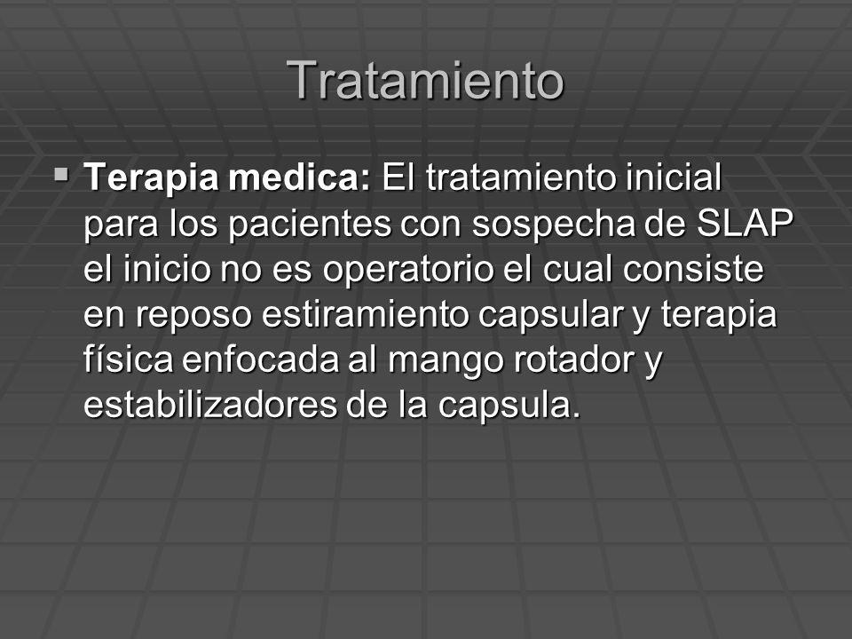 Tratamiento Terapia medica: El tratamiento inicial para los pacientes con sospecha de SLAP el inicio no es operatorio el cual consiste en reposo estir