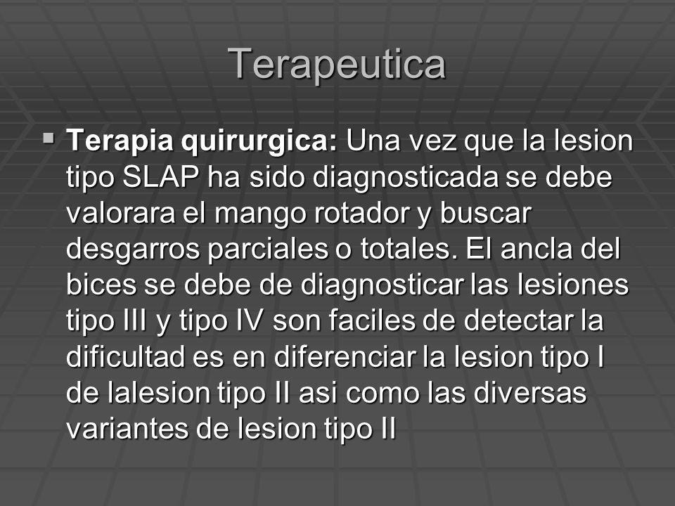 Terapeutica Terapia quirurgica: Una vez que la lesion tipo SLAP ha sido diagnosticada se debe valorara el mango rotador y buscar desgarros parciales o