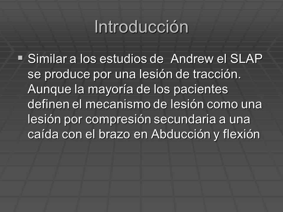 Introducción Similar a los estudios de Andrew el SLAP se produce por una lesión de tracción. Aunque la mayoría de los pacientes definen el mecanismo d