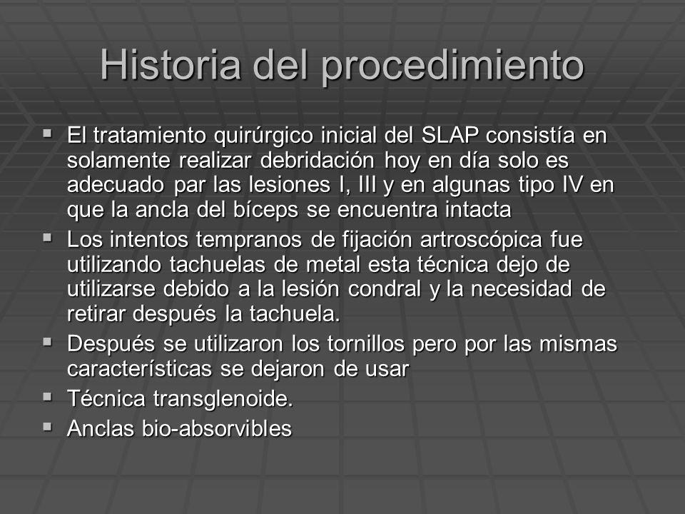 Historia del procedimiento El tratamiento quirúrgico inicial del SLAP consistía en solamente realizar debridación hoy en día solo es adecuado par las