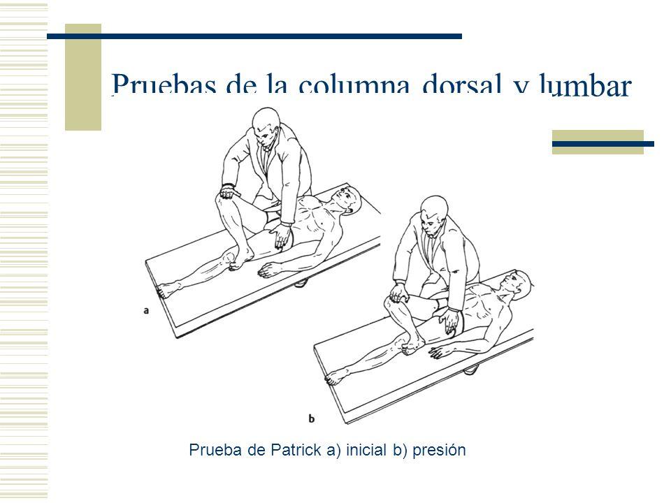 Pruebas de la columna dorsal y lumbar Prueba de Patrick a) inicial b) presión