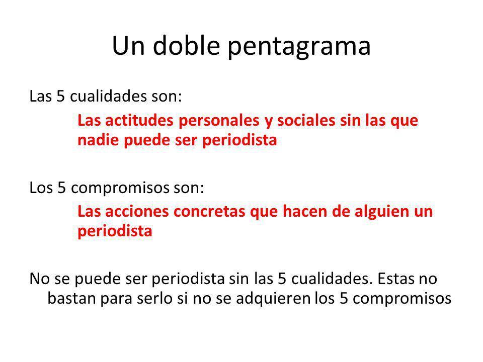 Un doble pentagrama Las 5 cualidades son: Las actitudes personales y sociales sin las que nadie puede ser periodista Los 5 compromisos son: Las accion