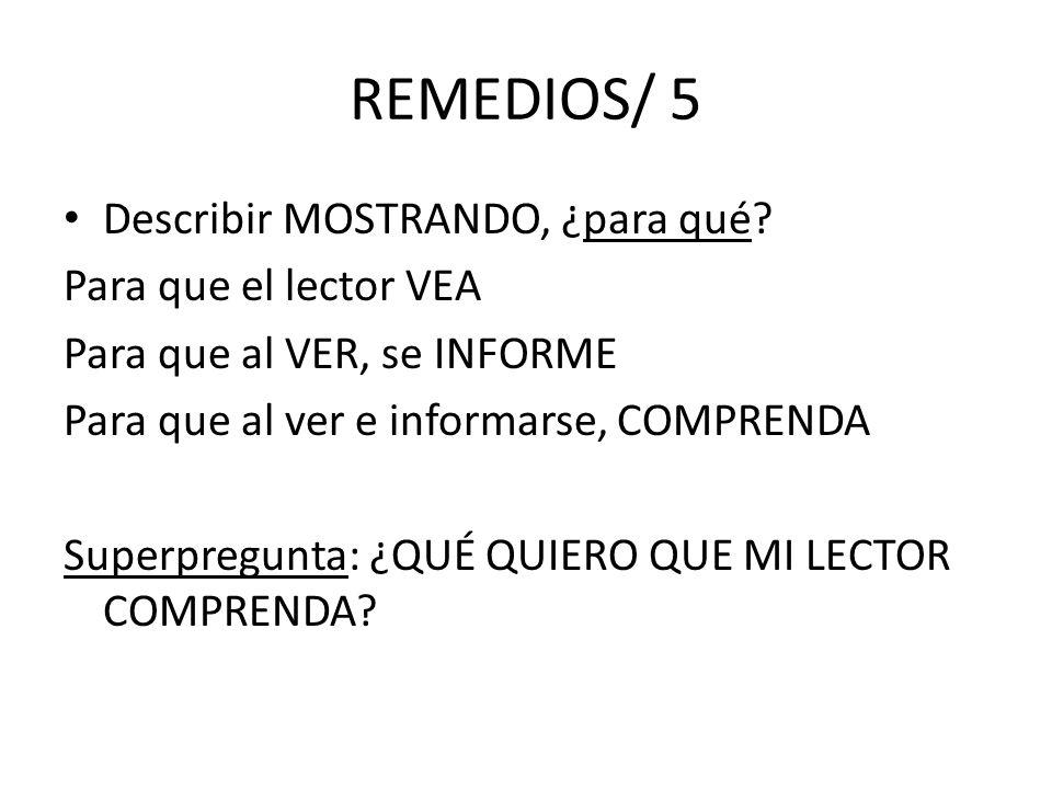 REMEDIOS/ 5 Describir MOSTRANDO, ¿para qué? Para que el lector VEA Para que al VER, se INFORME Para que al ver e informarse, COMPRENDA Superpregunta: