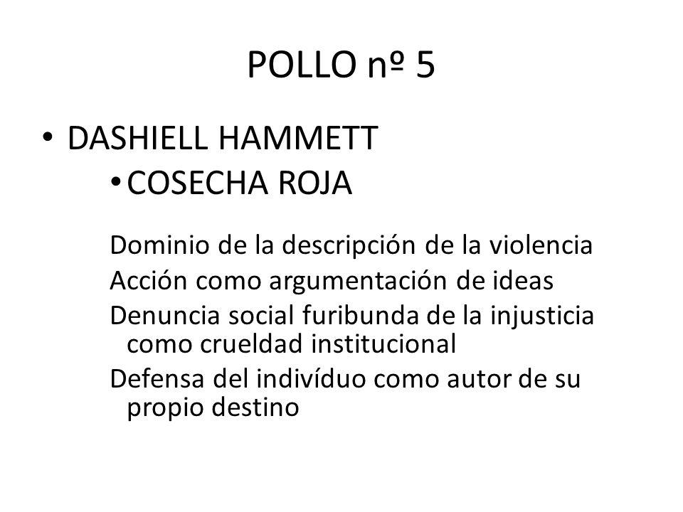 POLLO nº 5 DASHIELL HAMMETT COSECHA ROJA Dominio de la descripción de la violencia Acción como argumentación de ideas Denuncia social furibunda de la