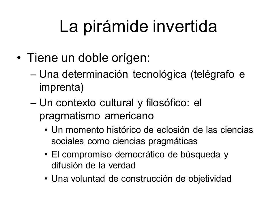 La pirámide invertida Tiene un doble orígen: –Una determinación tecnológica (telégrafo e imprenta) –Un contexto cultural y filosófico: el pragmatismo