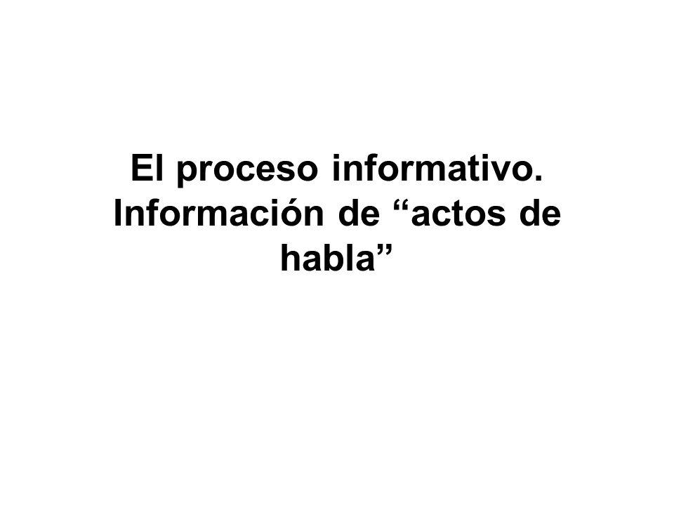 El proceso informativo. Información de actos de habla