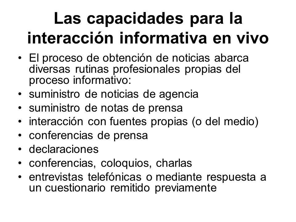 Las capacidades para la interacción informativa en vivo El proceso de obtención de noticias abarca diversas rutinas profesionales propias del proceso