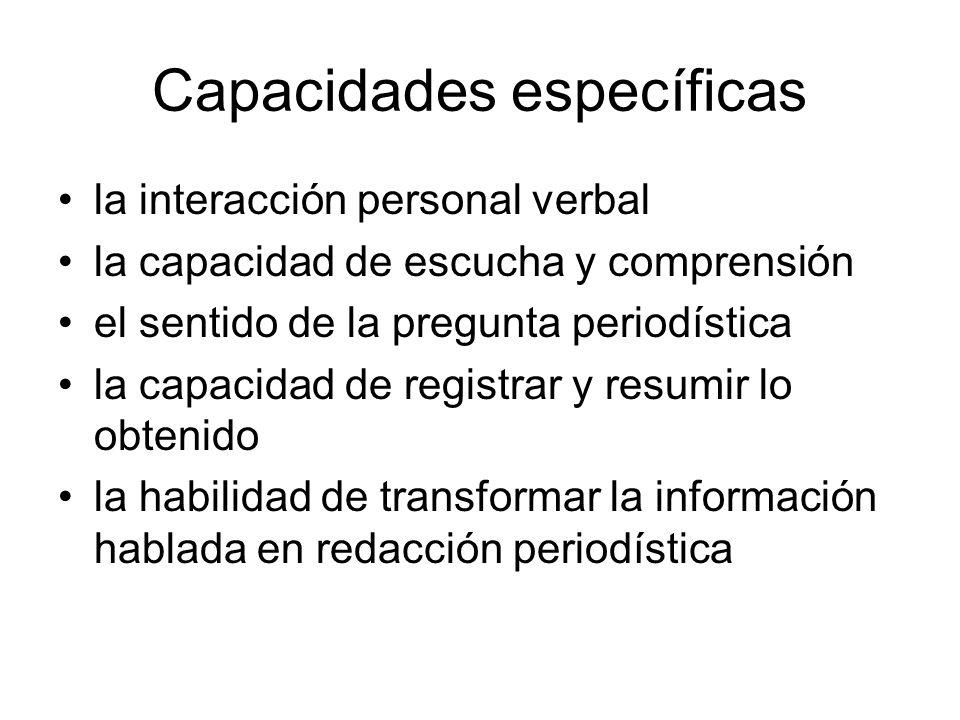 Capacidades específicas la interacción personal verbal la capacidad de escucha y comprensión el sentido de la pregunta periodística la capacidad de re