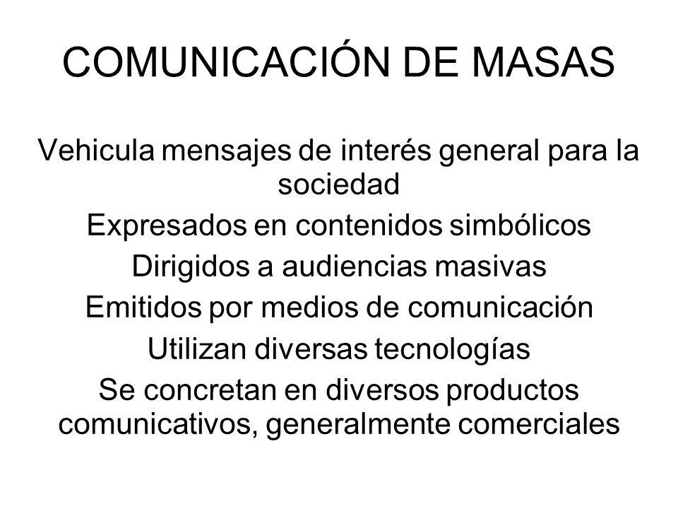 COMUNICACIÓN DE MASAS Vehicula mensajes de interés general para la sociedad Expresados en contenidos simbólicos Dirigidos a audiencias masivas Emitido