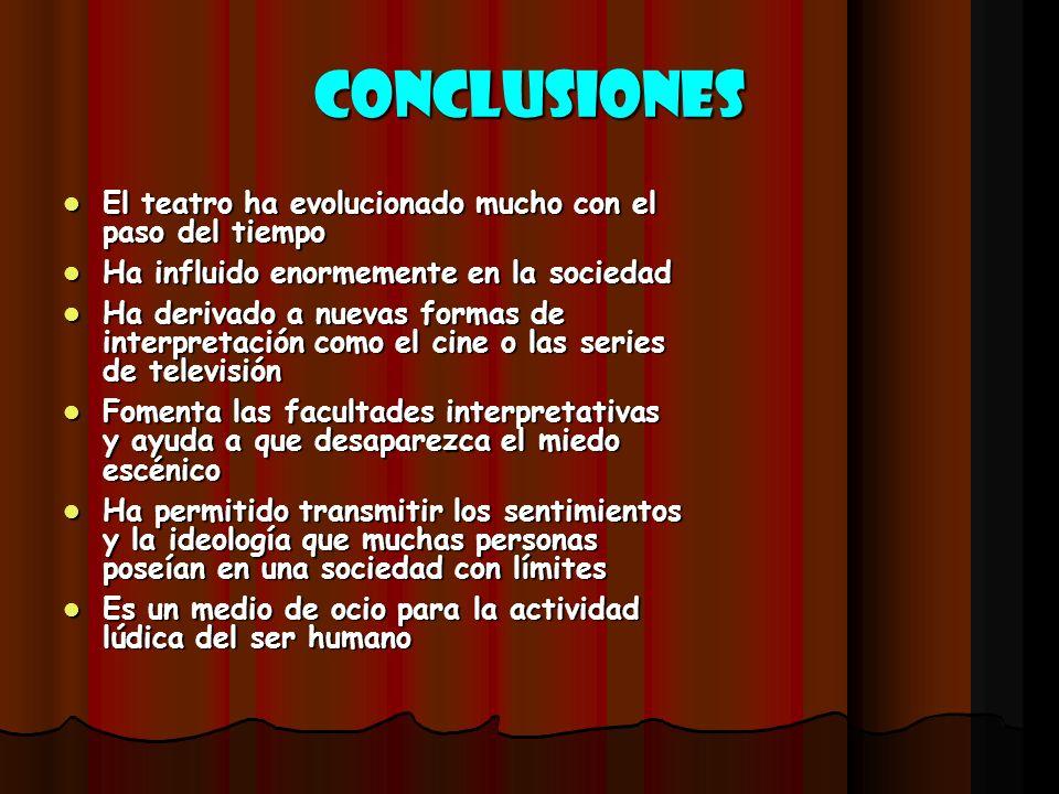 conclusiones El teatro ha evolucionado mucho con el paso del tiempo El teatro ha evolucionado mucho con el paso del tiempo Ha influido enormemente en
