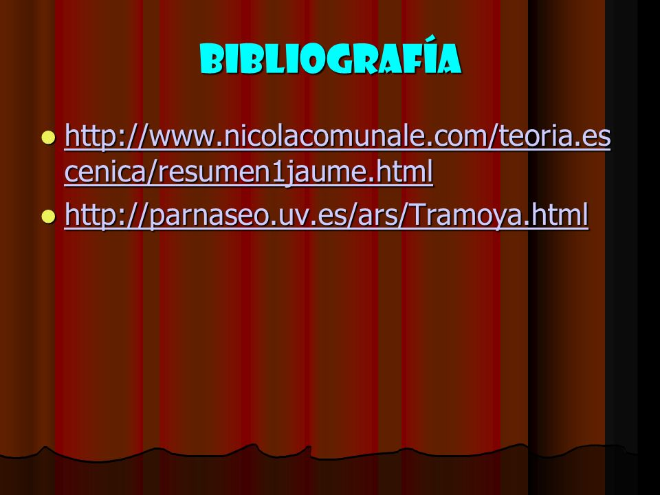 BIBLIOGRAFÍA http://www.nicolacomunale.com/teoria.es cenica/resumen1jaume.html http://www.nicolacomunale.com/teoria.es cenica/resumen1jaume.html http: