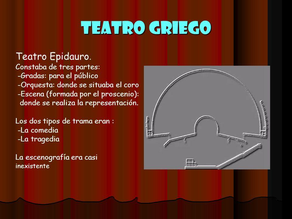 Teatro griego Teatro Epidauro. Constaba de tres partes: -Gradas: para el público -Orquesta: donde se situaba el coro -Escena (formada por el proscenio