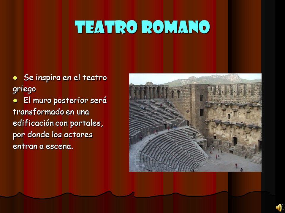 Teatro Romano Se inspira en el teatro Se inspira en el teatrogriego El muro posterior será El muro posterior será transformado en una edificación con