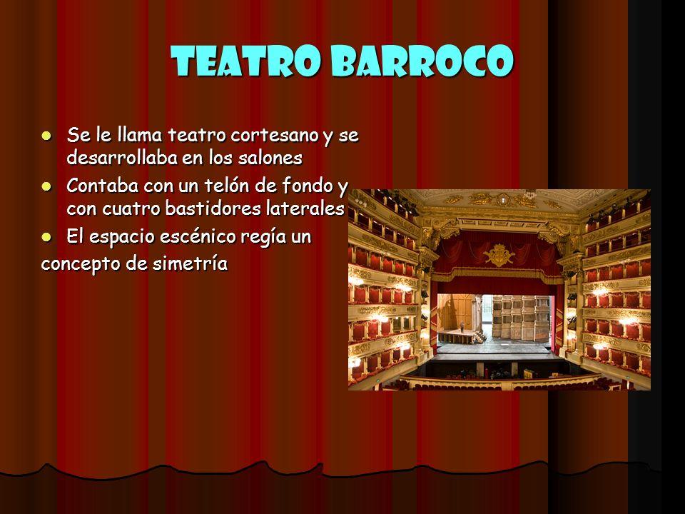 Teatro Barroco Se le llama teatro cortesano y se desarrollaba en los salones Se le llama teatro cortesano y se desarrollaba en los salones Contaba con