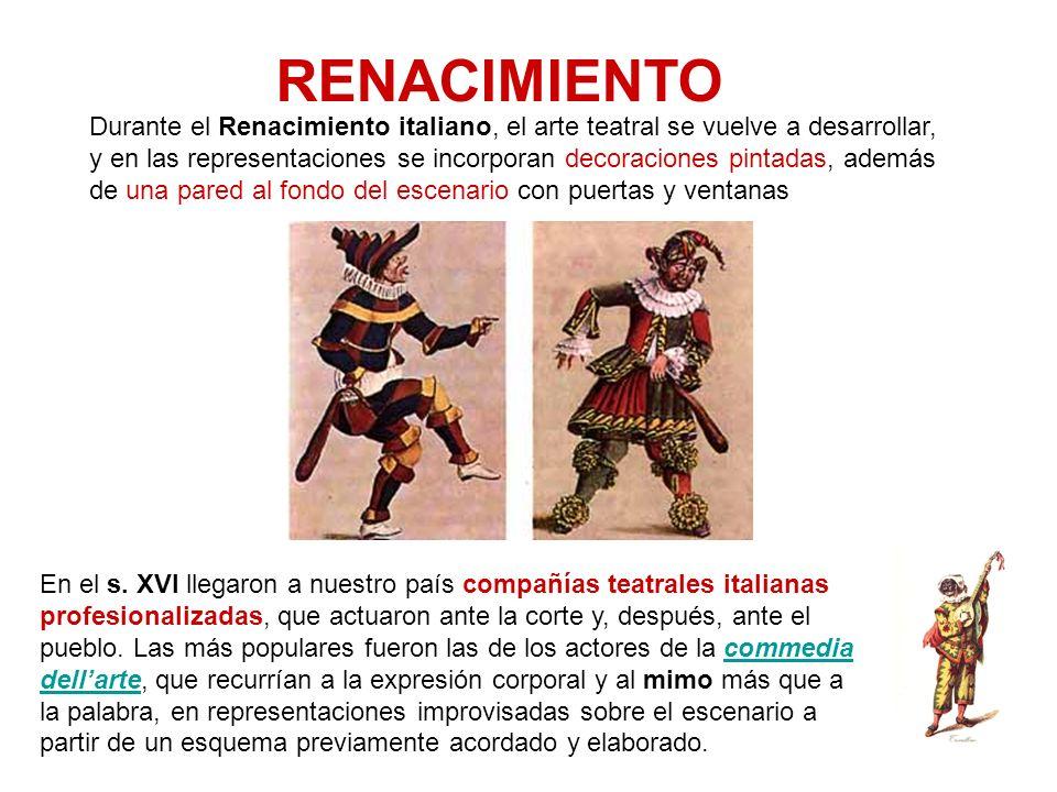 RENACIMIENTO Durante el Renacimiento italiano, el arte teatral se vuelve a desarrollar, y en las representaciones se incorporan decoraciones pintadas,