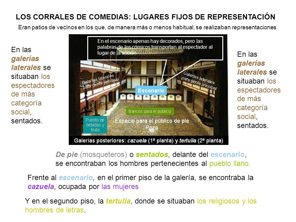 En las galerías laterales se situaban los espectadores de más categoría social, sentados. LOS CORRALES DE COMEDIAS: LUGARES FIJOS DE REPRESENTACIÓN Er