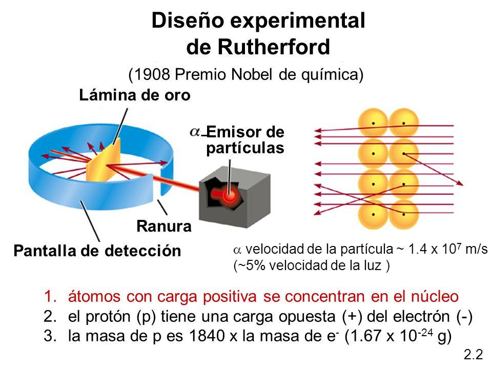 1.átomos con carga positiva se concentran en el núcleo 2.el protón (p) tiene una carga opuesta (+) del electrón (-) 3.la masa de p es 1840 x la masa d