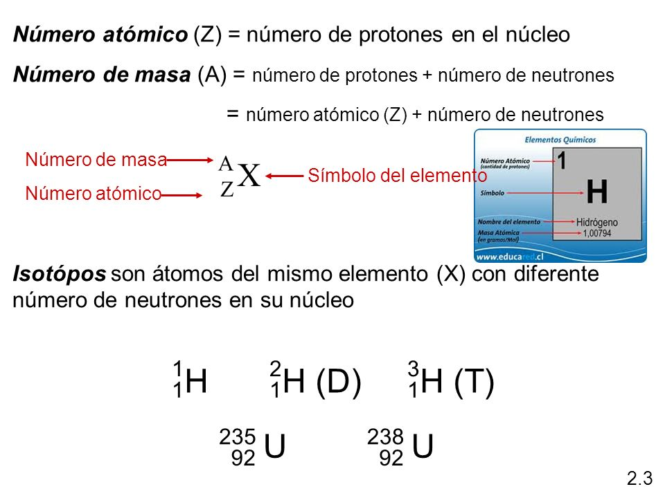 Número atómico (Z) = número de protones en el núcleo Número de masa (A) = número de protones + número de neutrones = número atómico (Z) + número de ne