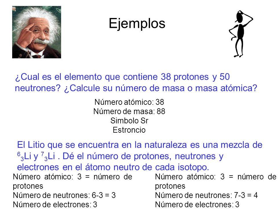 Ejemplos ¿Cual es el elemento que contiene 38 protones y 50 neutrones? ¿Calcule su número de masa o masa atómica? Número atómico: 38 Número de masa: 8