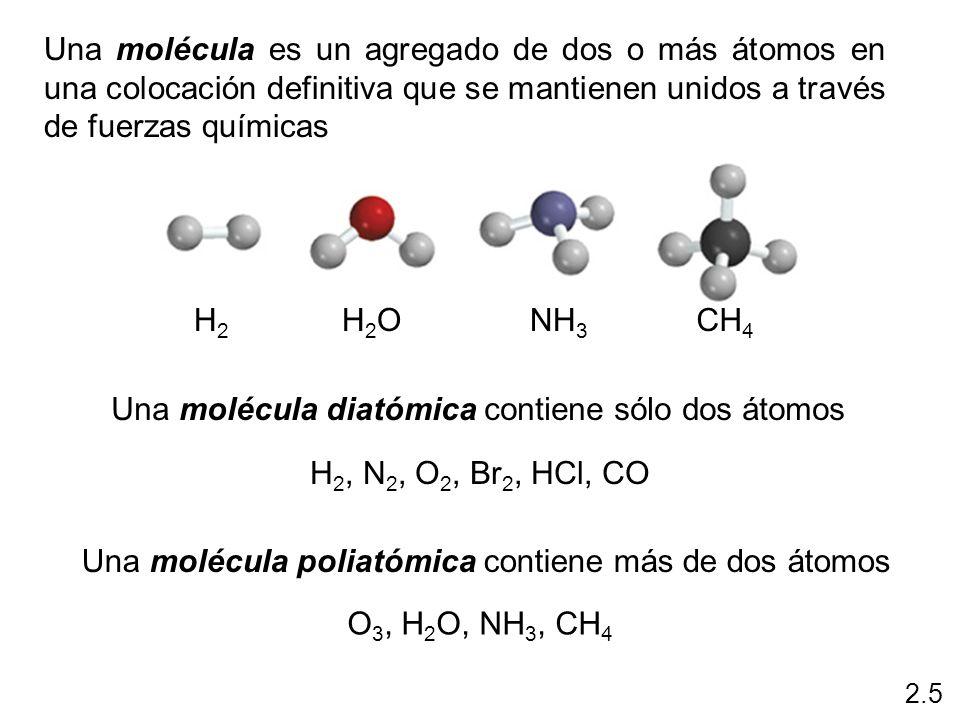 Una molécula es un agregado de dos o más átomos en una colocación definitiva que se mantienen unidos a través de fuerzas químicas H2H2 H2OH2ONH 3 CH 4