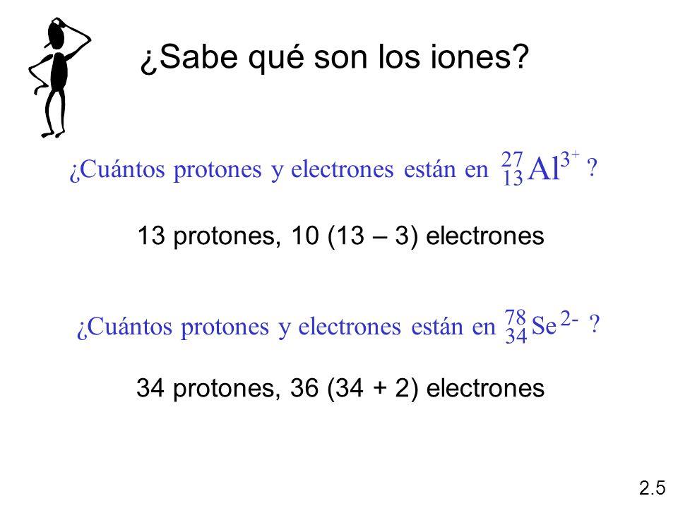 13 protones, 10 (13 – 3) electrones 34 protones, 36 (34 + 2) electrones ¿Sabe qué son los iones? 2.5 ¿Cuántos protones y electrones están en Al 27 13