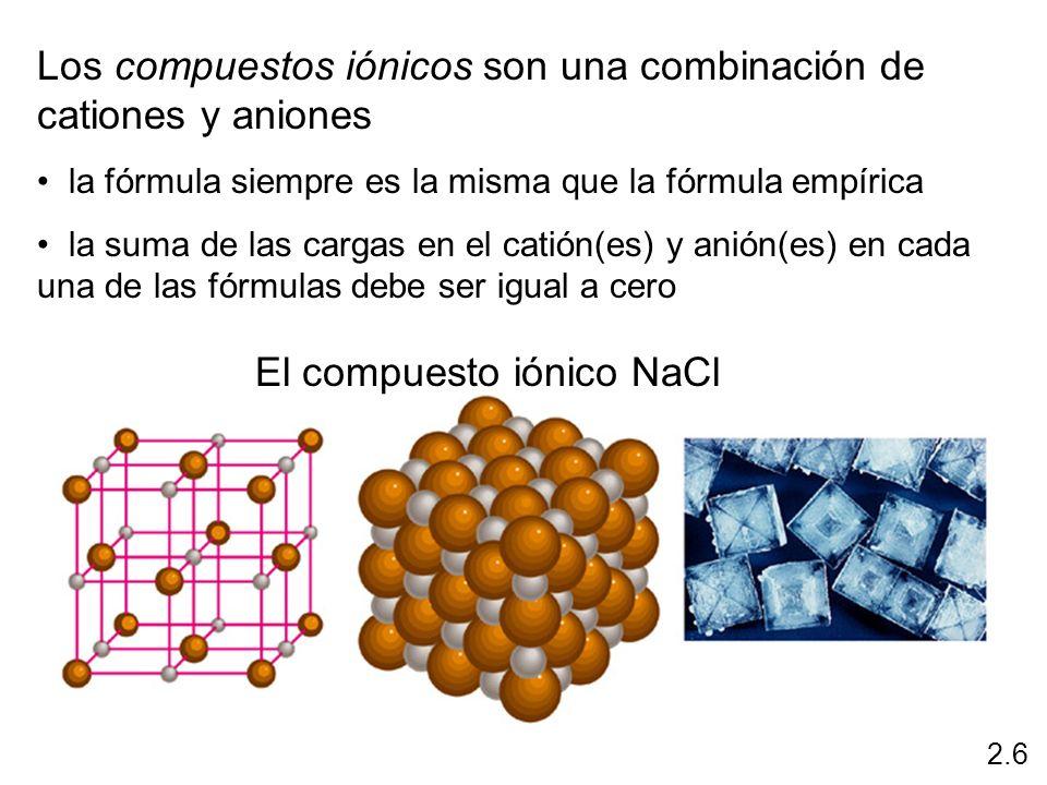 Los compuestos iónicos son una combinación de cationes y aniones la fórmula siempre es la misma que la fórmula empírica la suma de las cargas en el ca