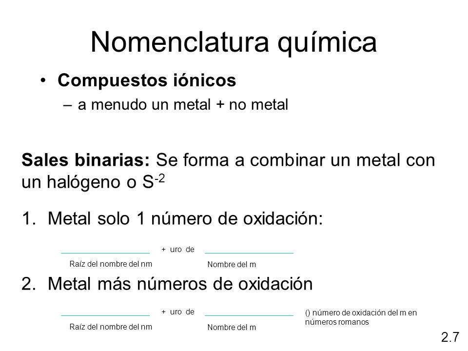 Nomenclatura química Compuestos iónicos –a menudo un metal + no metal 2.7 Sales binarias: Se forma a combinar un metal con un halógeno o S -2 1.Metal