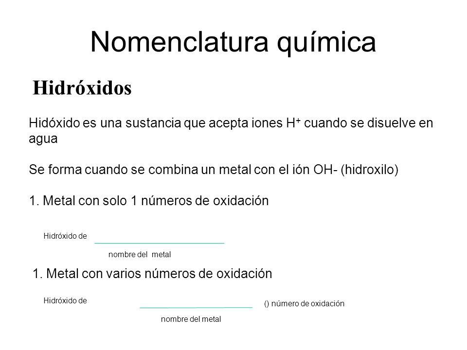 Hidróxidos Nomenclatura química Hidóxido es una sustancia que acepta iones H + cuando se disuelve en agua Se forma cuando se combina un metal con el i