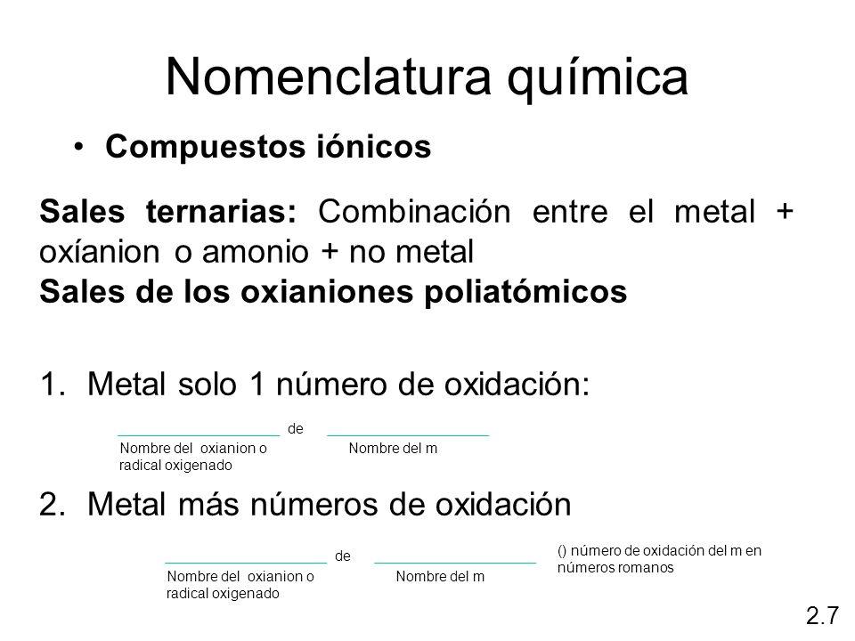 Nomenclatura química Compuestos iónicos 2.7 Sales ternarias: Combinación entre el metal + oxíanion o amonio + no metal Sales de los oxianiones poliató