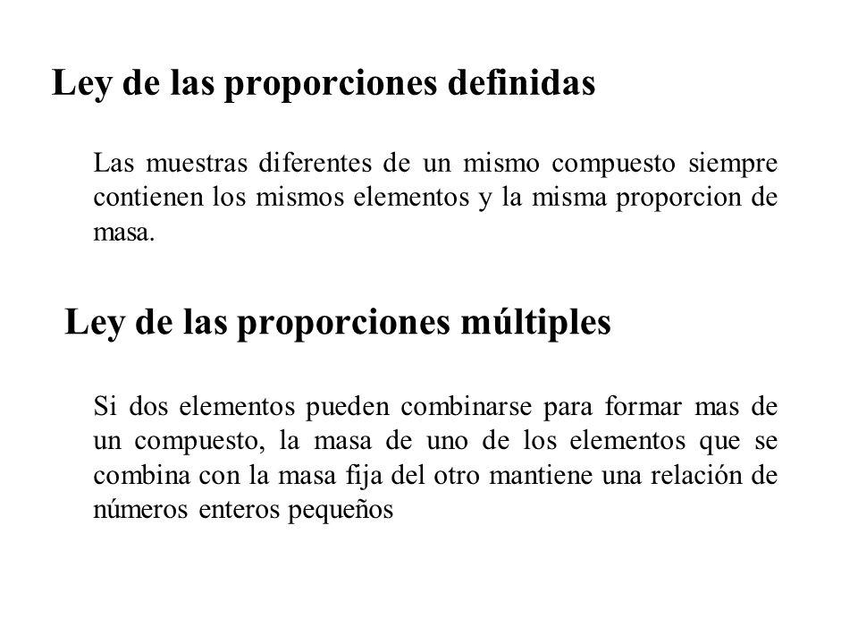 Ley de las proporciones definidas Las muestras diferentes de un mismo compuesto siempre contienen los mismos elementos y la misma proporcion de masa.