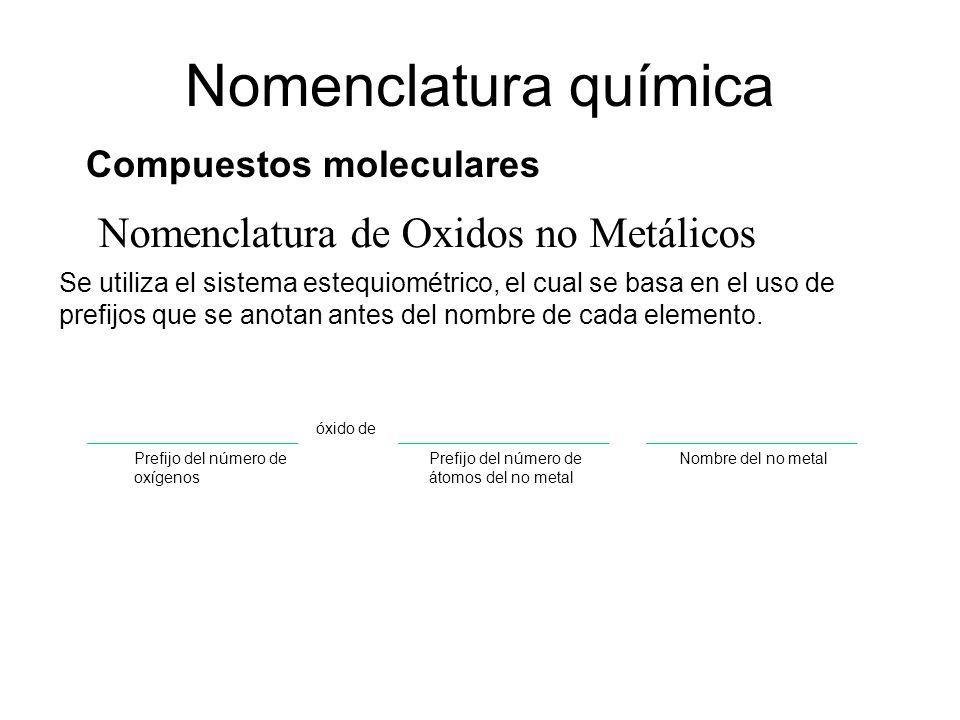 Nomenclatura de Oxidos no Metálicos Nomenclatura química Compuestos moleculares Se utiliza el sistema estequiométrico, el cual se basa en el uso de pr