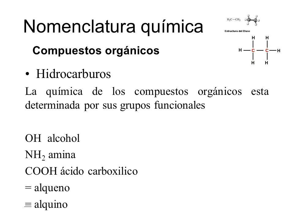 Hidrocarburos La química de los compuestos orgánicos esta determinada por sus grupos funcionales OH alcohol NH 2 amina COOH ácido carboxilico = alquen