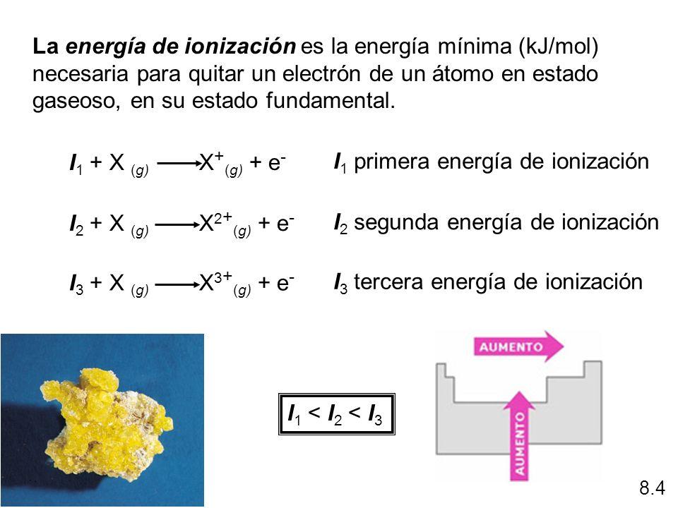 La energía de ionización es la energía mínima (kJ/mol) necesaria para quitar un electrón de un átomo en estado gaseoso, en su estado fundamental. I 1