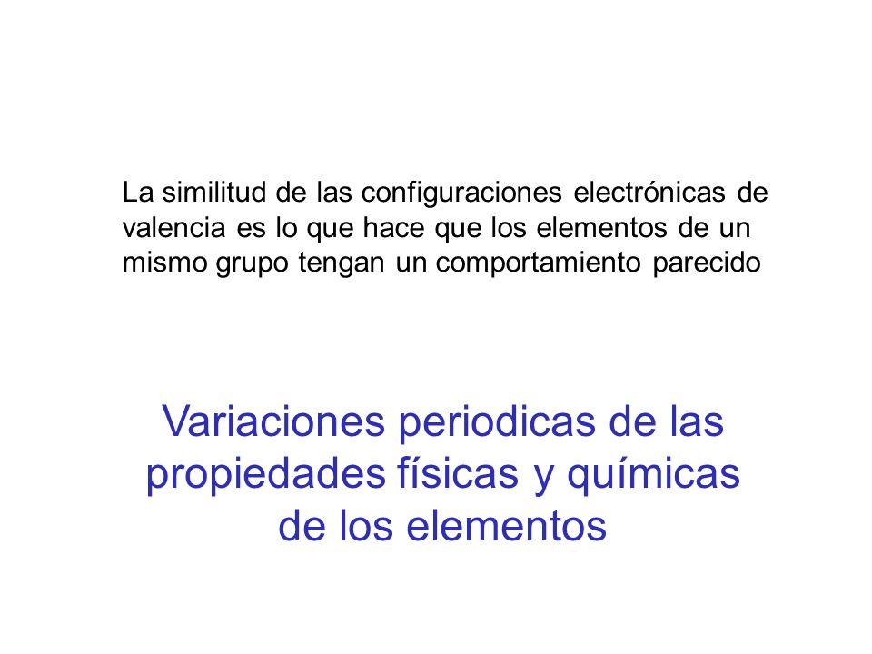 La similitud de las configuraciones electrónicas de valencia es lo que hace que los elementos de un mismo grupo tengan un comportamiento parecido Vari