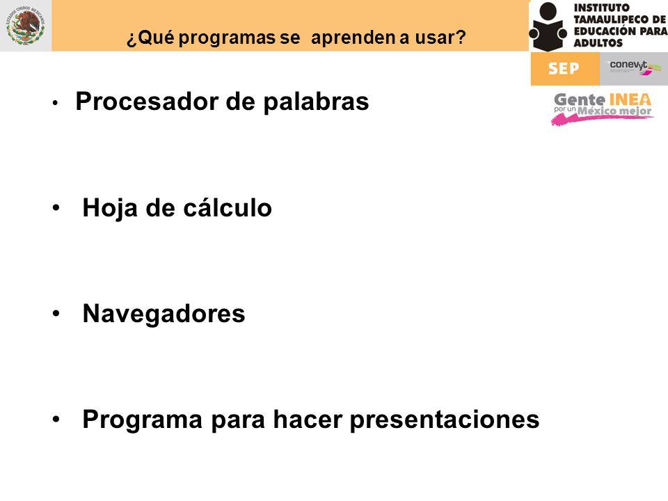 ¿Qué programas se aprenden a usar? Procesador de palabras Hoja de cálculo Navegadores Programa para hacer presentaciones