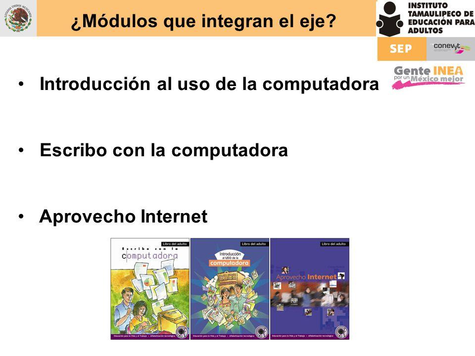 ¿Módulos que integran el eje? Introducción al uso de la computadora Escribo con la computadora Aprovecho Internet