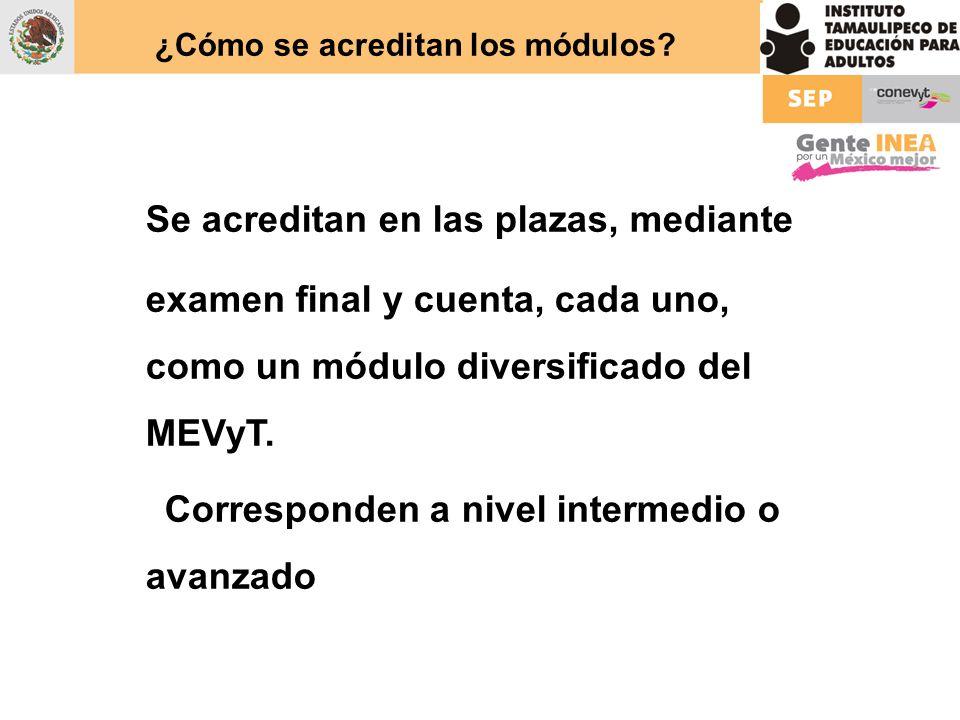 ¿Cómo se acreditan los módulos? Se acreditan en las plazas, mediante examen final y cuenta, cada uno, como un módulo diversificado del MEVyT. Correspo