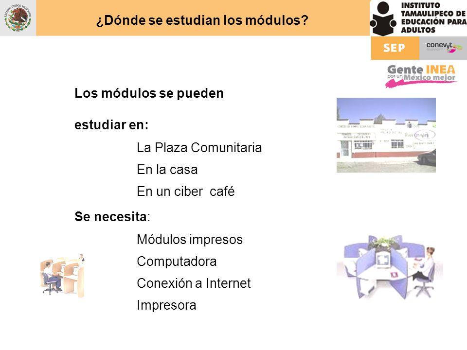 ¿Dónde se estudian los módulos? Los módulos se pueden estudiar en: La Plaza Comunitaria En la casa En un ciber café Se necesita: Módulos impresos Comp