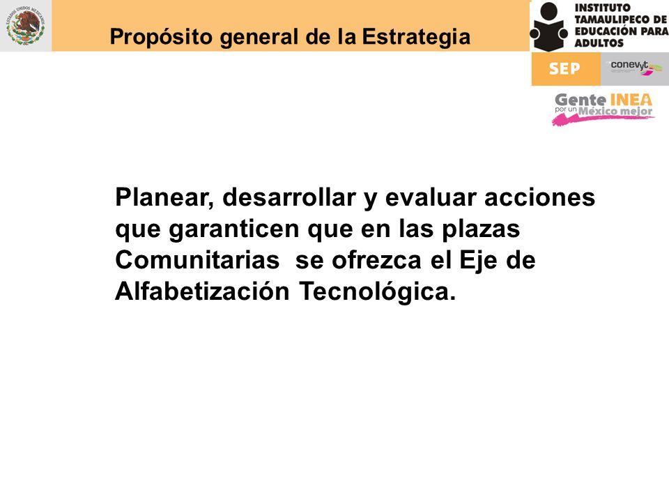 Propósito general de la Estrategia Planear, desarrollar y evaluar acciones que garanticen que en las plazas Comunitarias se ofrezca el Eje de Alfabeti