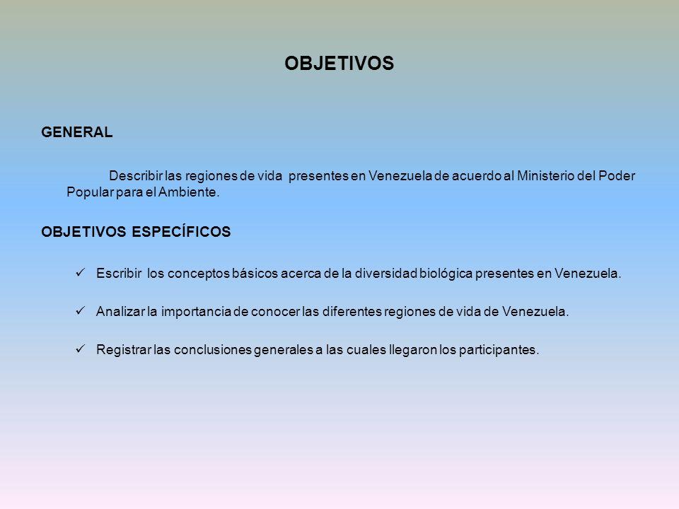 OBJETIVOS GENERAL Describir las regiones de vida presentes en Venezuela de acuerdo al Ministerio del Poder Popular para el Ambiente. OBJETIVOS ESPECÍF