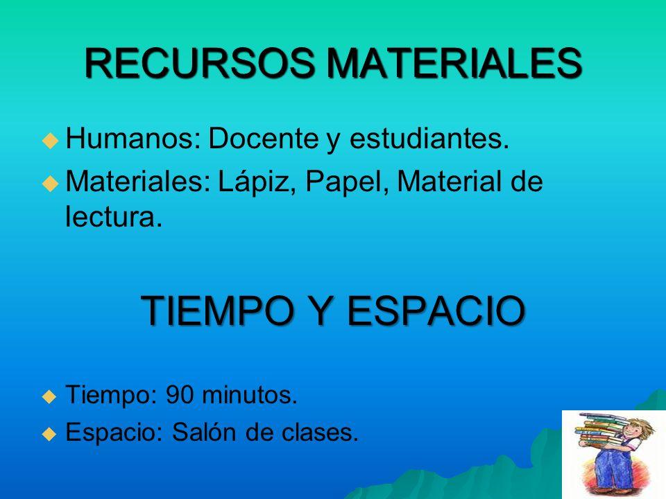 RECURSOS MATERIALES Humanos: Docente y estudiantes. Materiales: Lápiz, Papel, Material de lectura. TIEMPO Y ESPACIO Tiempo: 90 minutos. Espacio: Salón