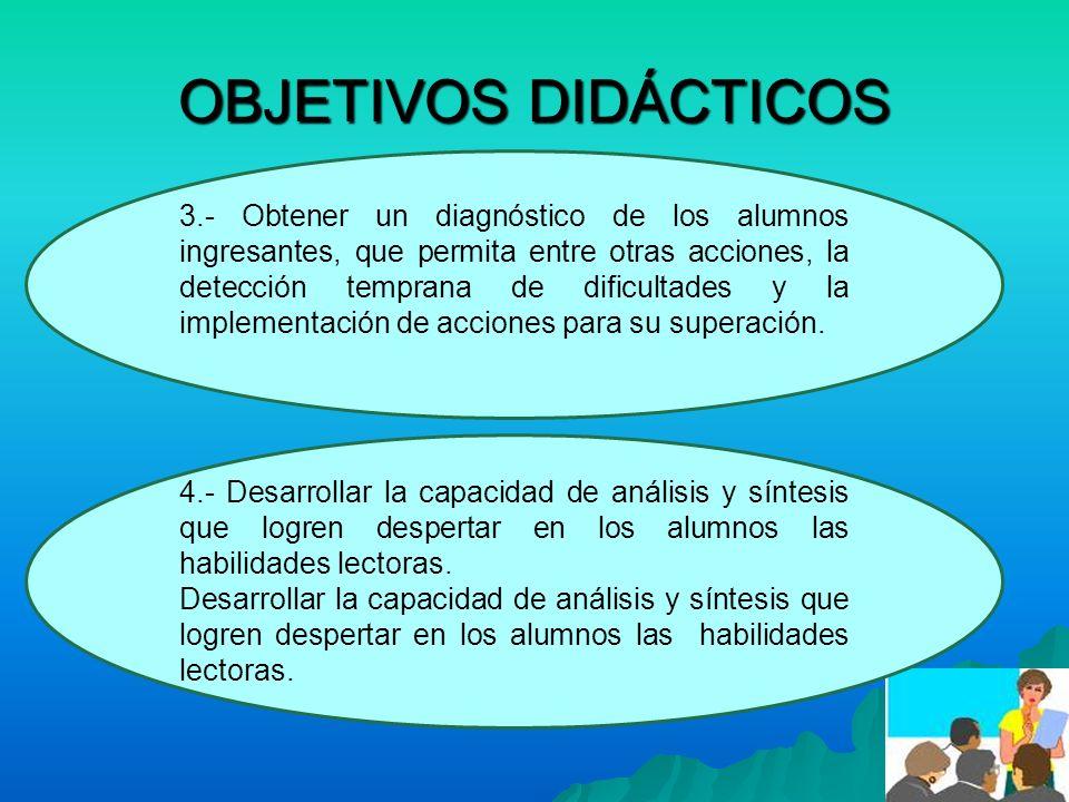 OBJETIVOS DIDÁCTICOS 3.- Obtener un diagnóstico de los alumnos ingresantes, que permita entre otras acciones, la detección temprana de dificultades y