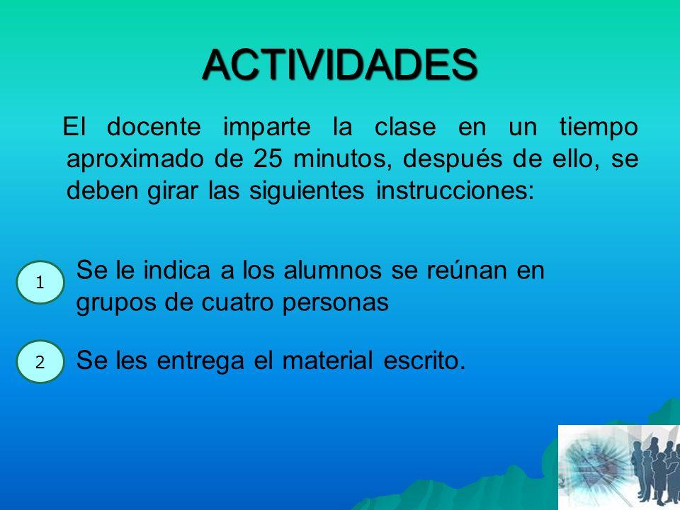 ACTIVIDADES El docente imparte la clase en un tiempo aproximado de 25 minutos, después de ello, se deben girar las siguientes instrucciones: 1 Se le i